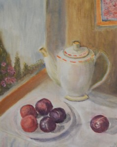 Still Life painting of teapot and plums by navdeep Kular