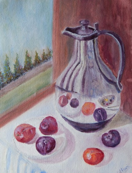 still life oil painting of carafe and plums with the reflection of plums in the metallic surface of carafe