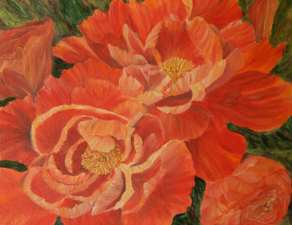 Red peonies oil painting by Navdeep Kular