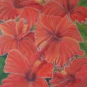 Red flowers oil painting by Navdeep Kular