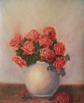 Floral still life red roses oil painting by Navdeep Kular
