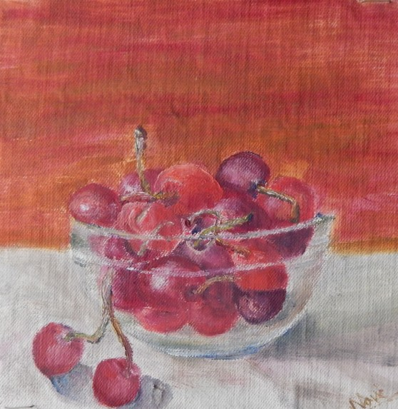 Still life oil painting of cherries in a glass bowl