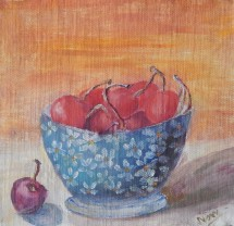 Still life oil painting of cherries in a blue bowl