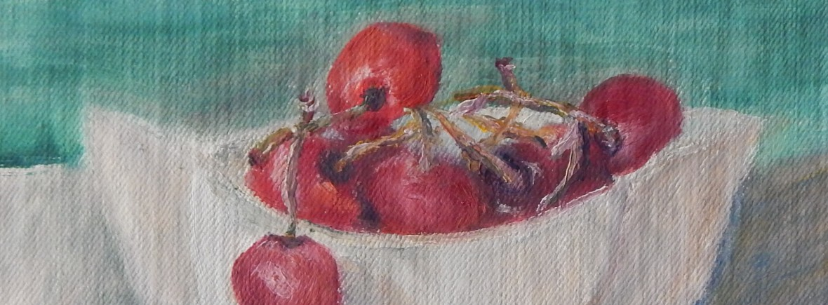 Still life painting of cherries