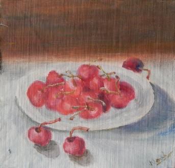 Still life painting of cherries