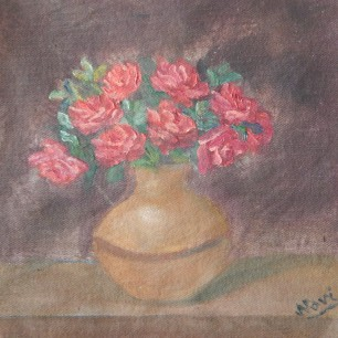 Oil painting of red roses in a copper vase by Navdeep Kular