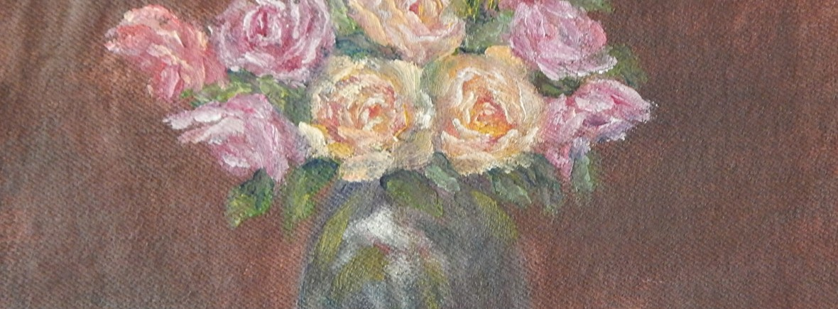 Oil painting of pink, yellow an peach roses in a glass vase by Navdeep Kular