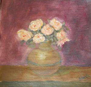 Yellow roses still life oil painting by Navdeep Kular