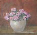 Still Life oil painting of pink roses in white vase by Navdeep Kular